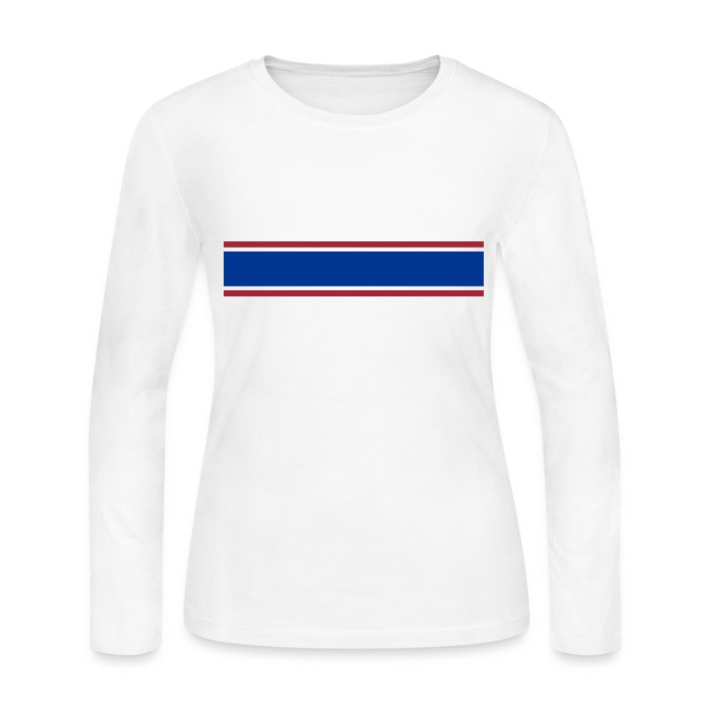Red white blue stripe long sleeve shirt spreadshirt for Blue and white long sleeve shirt