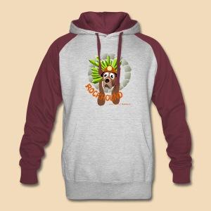 Rockhound on men's maroon/grey color block hoodie - Colorblock Hoodie