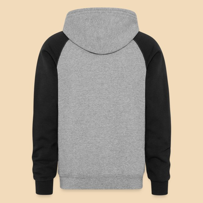 Rockhound on men's maroon/grey color block hoodie