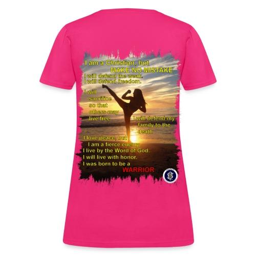 Warror poem, womens, back - Women's T-Shirt
