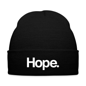 Hope. Beanie - Knit Cap with Cuff Print