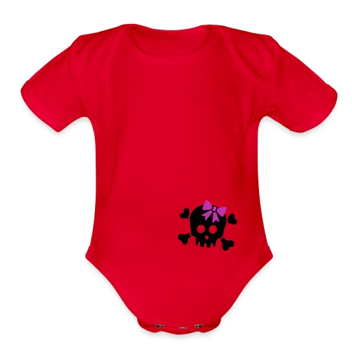 Cutesy Skull   - Organic Short Sleeve Baby Bodysuit