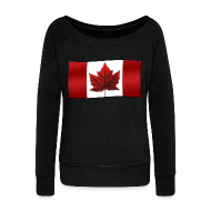 Long Sleeve Shirts ~ Women's Wideneck Sweatshirt ~ Canada Souvenir Sweatshirt Canada Flag Shirts