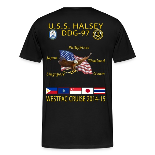 USS HALSEY DDG-97 2014-15 CRUISE SHIRT - Men's Premium T-Shirt