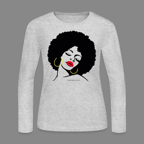Afro Diva Red Lips (Long-Sleeve) - Women's Long Sleeve Jersey T-Shirt