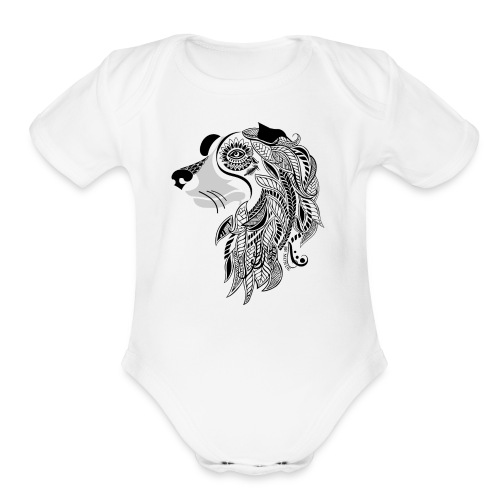 Who Let The Dogs Out - Tribal Puppy Short Sleeve Baby Bodysuit from South Seas Tees - Organic Short Sleeve Baby Bodysuit