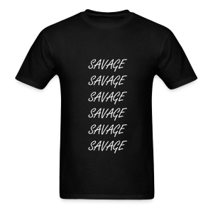 Savage White Letter Vertical Tee - Men's T-Shirt