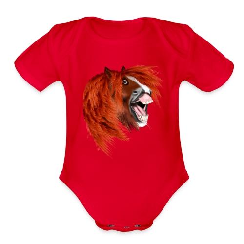 THE LAUGHING PONY - Organic Short Sleeve Baby Bodysuit