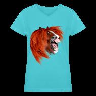 Women's T-Shirts ~ Women's V-Neck T-Shirt ~ THE LAUGHING PONY
