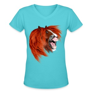 THE LAUGHING PONY - Women's V-Neck T-Shirt