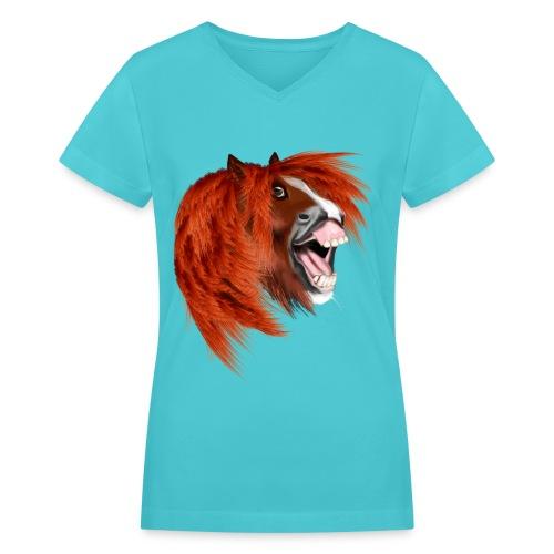 THE LAUGHING PONY - Women's V-Neck T-Shirt