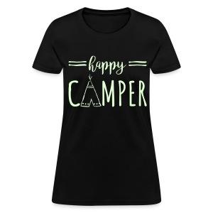 Happy Camper WHITE FLat Print Womens - Women's T-Shirt