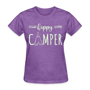 Happy Camper WHITE FLat Print Womens - Women's T-Shirt