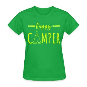Happy Camper NEON YELLOW FLat Print Womens - Women's T-Shirt