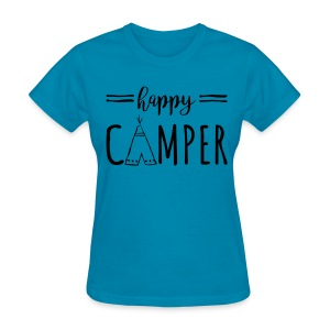 Happy Camper BLACK FLAT Print Womens - Women's T-Shirt