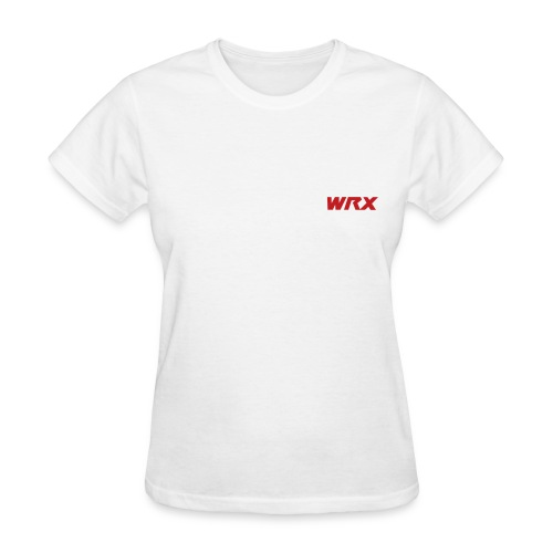 Red Flocked STi Logo with DFWSubaru's Official HT on the back in White/Silver - Women's T-Shirt