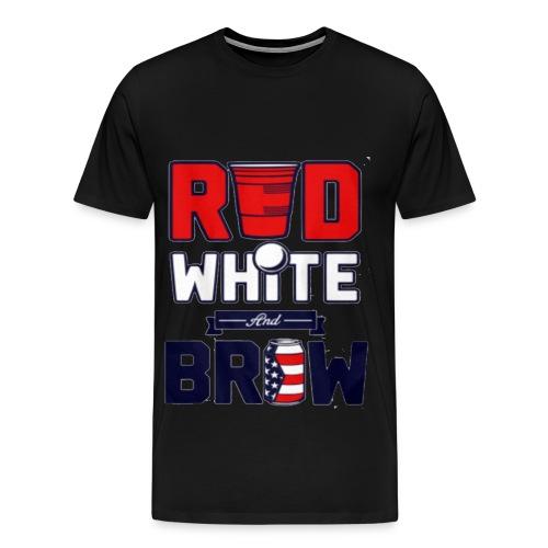 RED white brow - Men's Premium T-Shirt