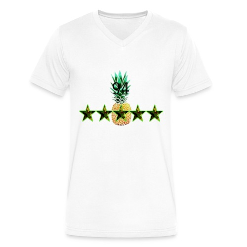 5 star v-neck WHITE - Men's V-Neck T-Shirt by Canvas