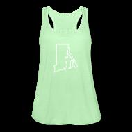 Tanks ~ Women's Flowy Tank Top by Bella ~ Rhode Island Outline Womens