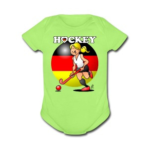 Hockey lady of the German field hockey team. Baby Bodysuits - Short Sleeve Baby Bodysuit