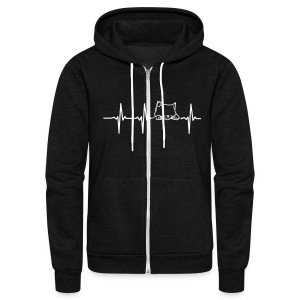 MY HEART BEATS FOR CATS Zip Hoodies & Jackets - Unisex Fleece Zip Hoodie by American Apparel