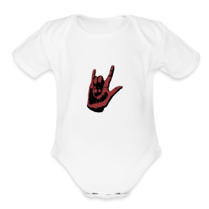 ASL I Love You White One Piece    - Short Sleeve Baby Bodysuit