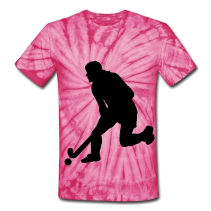 Women's Field Hockey Player in Silhouette - Unisex Tie Dye T-Shirt