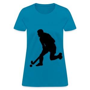 Women's Field Hockey Player in Silhouette - Women's T-Shirt