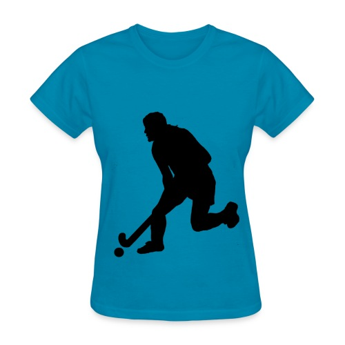 Women's Field Hockey Player in Silhouette - Women's T-Shirt