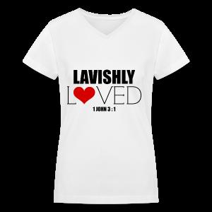 Lavishly Loved Design 1 Women's V - Neck T-Shirt - Women's V-Neck T-Shirt