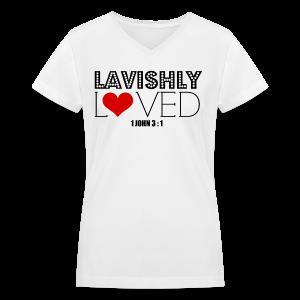 Lavishly Loved Design 2 Women's V - NeckT-Shirt - Women's V-Neck T-Shirt