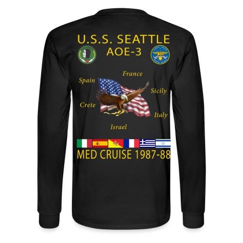 USS SEATTLE 1987-88 CRUISE SHIRT - LONG SLEEVE - Men's Long Sleeve T-Shirt