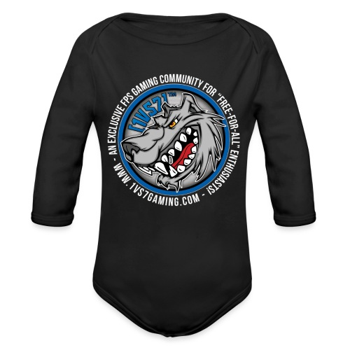[1vs7]™ Baby Long Sleeve One Piece | Classic Full Color Logo | Black Fabric - Long Sleeve Baby Bodysuit