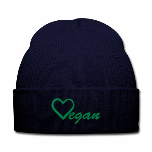 Vegan Heart  Knit Cap - Knit Cap with Cuff Print