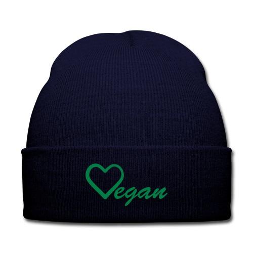 Vegan Heart  Knit Cap - Knit Cap with Cuff Print