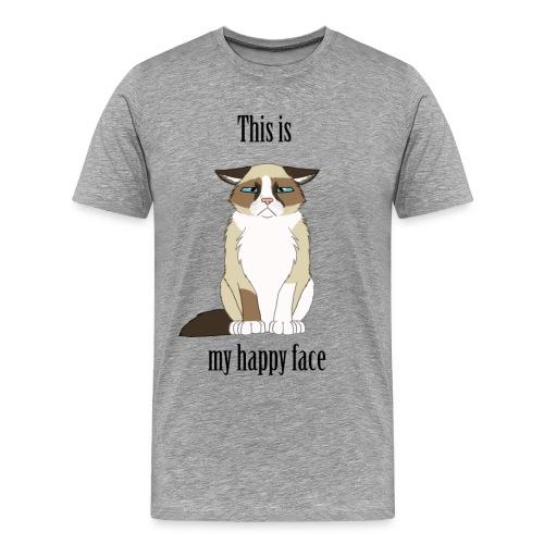 Happy Face - Grumpy Cat - Men's Premium T-Shirt