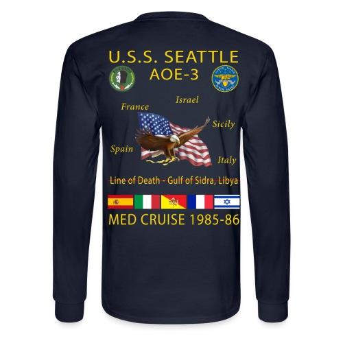 USS SEATTLE 1985-86 CRUISE SHIRT - LONG SLEEVE - Men's Long Sleeve T-Shirt