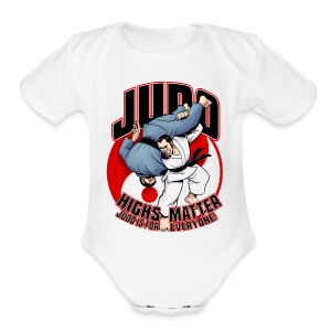 Short Sleeve Baby Bodysuit - Judo throw design revealing the phrase Judo Highs Matter, Judo Is For Everyone
