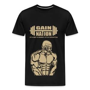 Gain Nation Muscle Man Gold - Men's Premium T-Shirt
