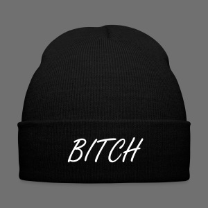BITCH beanie - Knit Cap with Cuff Print