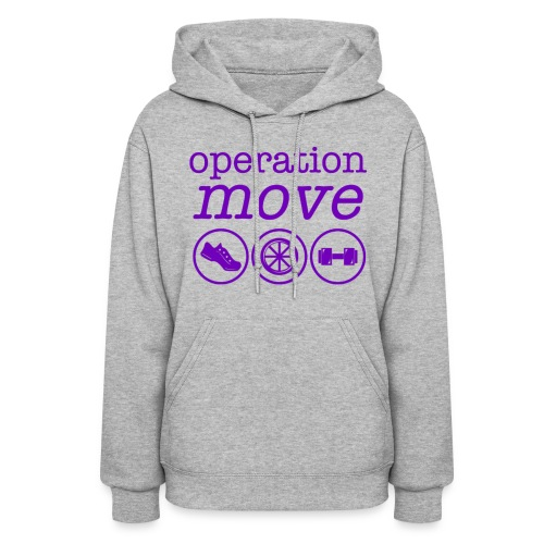 Midweight Hoodie - Heather Grey and Purple PrintM - Women's Hoodie