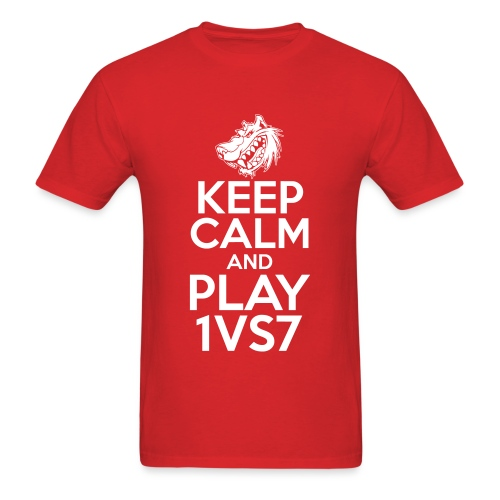 [1vs7]™ Men's Tee | White Smooth Keep Calm w/ Sleeve Logo | Pick Fabric Color - Men's T-Shirt