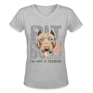 Pit bull not a terror - women v-neck shirt - Women's V-Neck T-Shirt