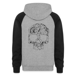 Tribal tattoo style gothic skull Hoody - Colorblock Hoodie