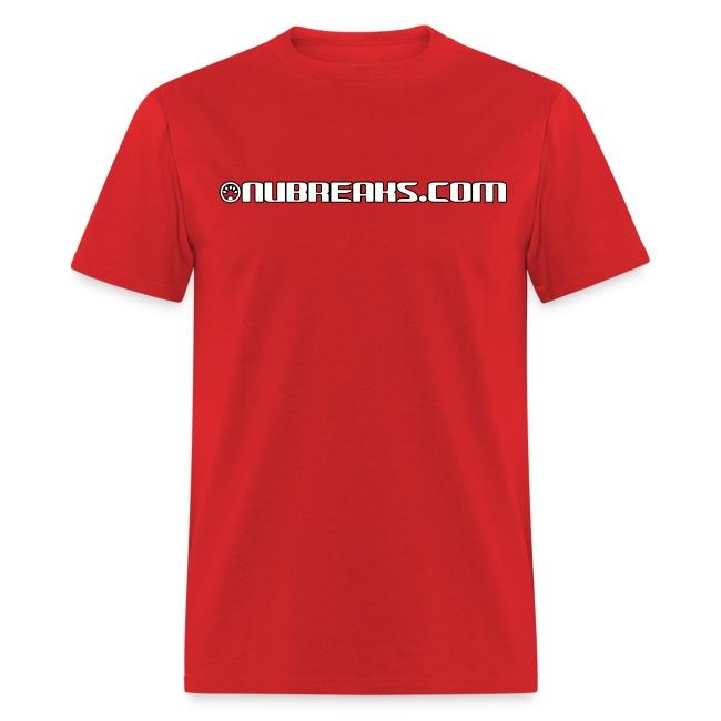 Nubreaks.com White w/ Black Trim Front/Back Mens Heavyweight Tee
