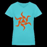 Women's T-Shirts ~ Women's V-Neck T-Shirt ~ Recovery Sun Flames Design