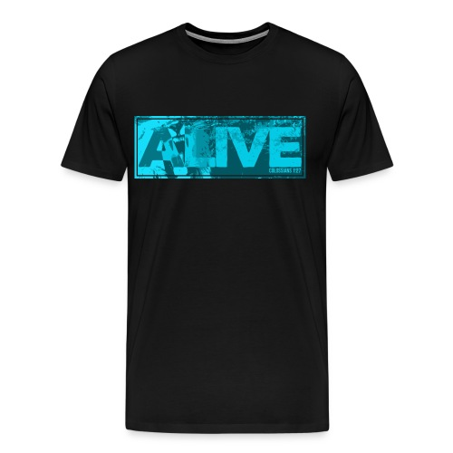 ALIVE - Lion Shirt (Black w/ Blue Art) - Men's Premium T-Shirt