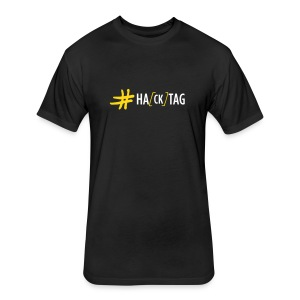 Hacktag Scrawl (on Dark) - Fitted Cotton/Poly T-Shirt by Next Level