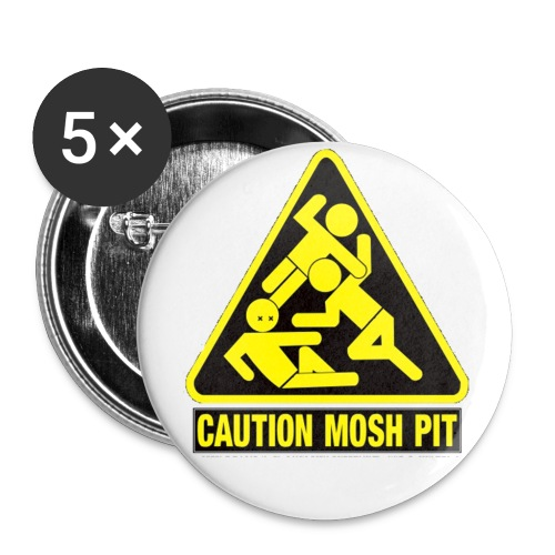 Caution Mosh Pit Buttons 5 Pack - Small Buttons