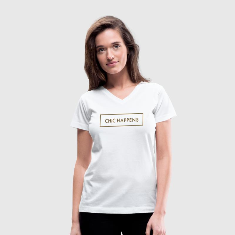 Chic Happens Women's T-Shirts - Women's V-Neck T-Shirt